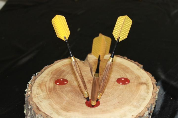 Zebra Wood Plastic Tipped Dart Set