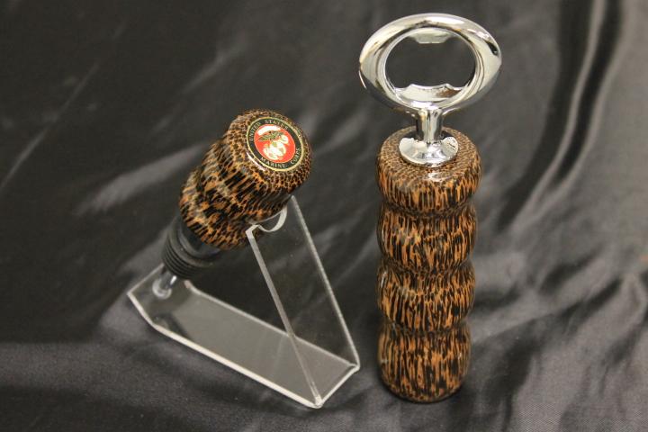 Black Palm Wood, US Marines Bottle Stopper/Opener Set