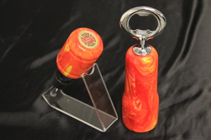 Flame Acrylic, Volunteer Fire Fighter Bottle Stopper/Opener Set