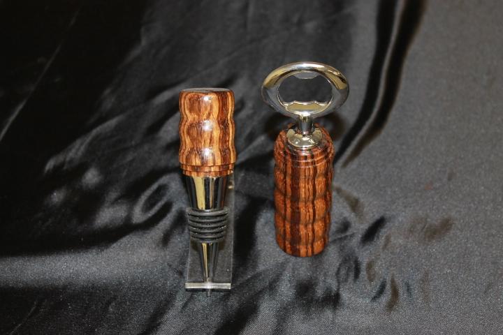 Zebra Wood, Bottle Stopper/Opener Set
