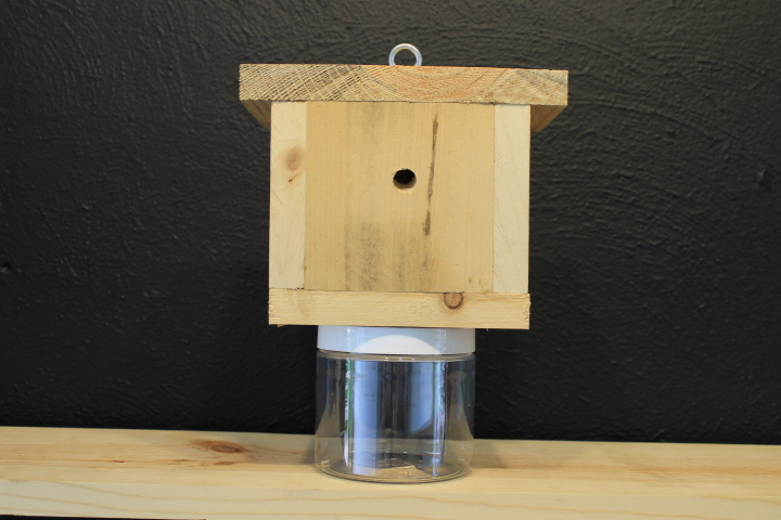 Carpenter Bee Trap, Pine Wood and Plastic Containers