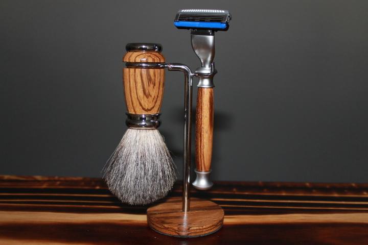 Zebra Wood Shaving Kit, Mach3 Razor, Badger Hair Brush, And Stand.